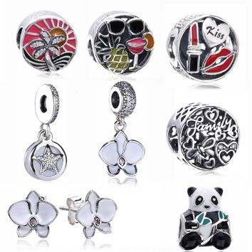 Slovecabin 2017 Autumn 925 Sterling Silver Glamour Kiss Charms Bead Fit For Pandora Bracelet Red Enamel Bead DIY Jewelry Marking