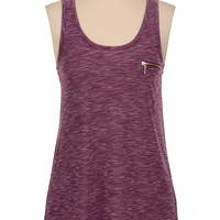 Spacedye scoop neck tank with zipper