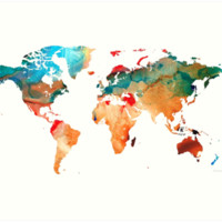 'Map of The World 7 -Colorful Abstract Art' Art Print by Sharon Cummings