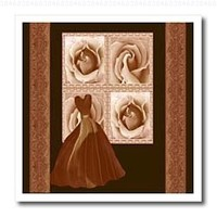Jaclinart Dress Roses Flowers Nature Damask Ribbons - Cocoa brown design with elegant gown roses and damask ribbons on dark chocolate background - 10x10 Iron on Heat Transfer for White Material (ht_30184_3)