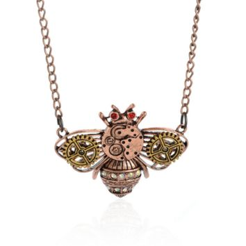 Steam punk gear honeybee pendant charm necklace , the perfect gift for the boy !