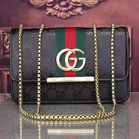 GG Red and Green Striped Embroidered Letters Ladies Flip Shoulder Bag Chain Crossbody Bag