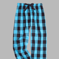 Turquoise & Black Love Flannel Pants.  Cotton.  Electric Turquoise and Black.