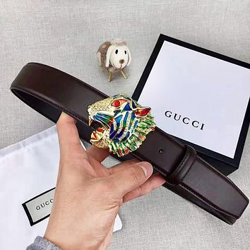 GUCCI New fashion multicolor leopard head buckle leather couple belt Coffee with box