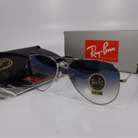 Cheap Ray Ban Sunglasses RB003/3F Silver Frame Gradient Light Blue Lenses 58mm outlet