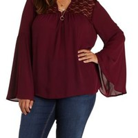 Plus Size Wine Crochet & Lace Bell Sleeve Top by Charlotte Russe