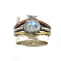 Moonstone Three Tone Sterling Silver Band Ring