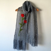 Women's Scarves,Knitted Scarves,Long Scarf, Women Scarf,Handmade, Crochet Scarf,Long Scarf,Infinity Scarf,Grey Scarf,Neck Warmer
