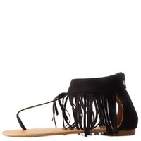 Black Fringe Ankle Cuff Thong Sandals by Charlotte Russe
