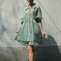 Minty Sheer Oversized Button Front Puffy Mini Dress