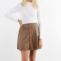 Sweet Beginnings Coco Micro Suede Skater Skirt With Button Up Detail
