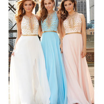 Blue Chiffon Metallic Belted Gown With Gold Studded Bodice