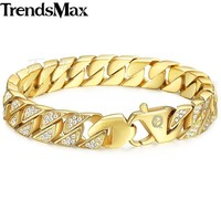 Trendsmax Miami Curb Cuban Link Mens Bracelet Chain Stainless Steel Hip Hop Iced Out Gold-color