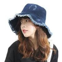 UV Protection Bucket Hat For Women Personality Denim Adult Fisherman Hats Female Spring Travel Foldable Basin Hat Summer Sun Cap