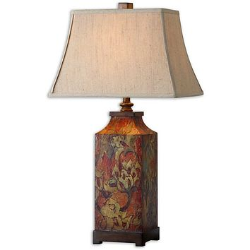 "32""H Colorful Flowers 1-Light Table Lamp Burnished Walnut"