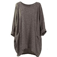 Simple Casual Long Sleeve Knit Tunic Shirt Top Blouse