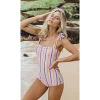 Pink Rainbow Striped Shoulder-Tie Swimsuit