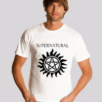 SUPERNATURAL shirt Logo Dean WINCHESTER shirt   Men shirt Print  S-2XL