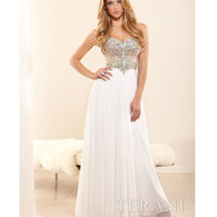 Terani 2014 Prom Dresses - Ivory Chiffon & Crystal Strapless Basque Prom Gown