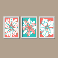 Wall Art Canvas Artwork Coral Turquoise Flower Petal Burst Outline Dahlia Floral Bloom  Set of 3 Trio Prints  Decor   Bedroom Bathroom Three