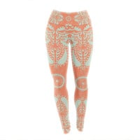 "Nandita Singh ""Motifs in Peach"" Orange Floral Yoga Leggings"