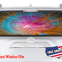 Abstract Colorful Jellyfish Scuba Full Color Print Perforated Film Truck SUV Back Window Sticker Perf016