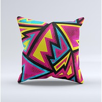 The Crazy Retro Squiggles V2 ink-Fuzed Decorative Throw Pillow