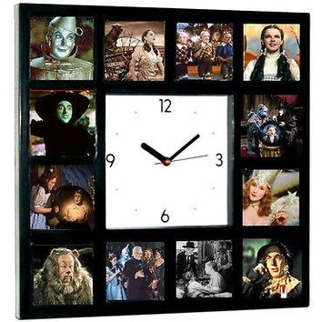 Wizard of Oz Square Clock with 12 pictures Dorothy Wicked Witch Scarecrow Glinda