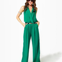 Long Time No Sleeve Green Jumpsuit