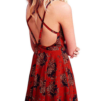 Red Floral Print Layer Strappy Back Cami Skater Dress
