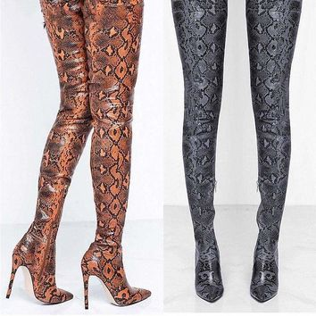 Thigh High Over the Knee Snakeskin Pointed Toe Boots