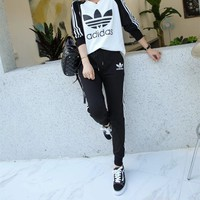 Adidas Casual Simple Cool  Multicolor Stripe Fashion Long Sleeve  Pattern Letter Print  Two-Piece Suit Clothes