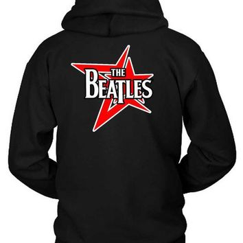 CREYH9S The Beatles Red Stars Hoodie Two Sided
