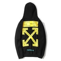 Off-white new warning line foundation hoodie ow trend hoodie jacket for couples