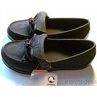 Womens Crocs Suede Nubuck Wrapped Loafer Bow Croslite Lightweight Brushed Lined