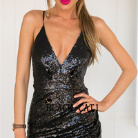 Black Sequin Wrap Strappy Prom Dress