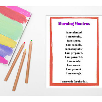 Morning Mantras & Magical Mantras (PRINTABLE - INSTANT DOWNLOAD) /// Self Care, Radical Self Love, Wellness, Mental Health