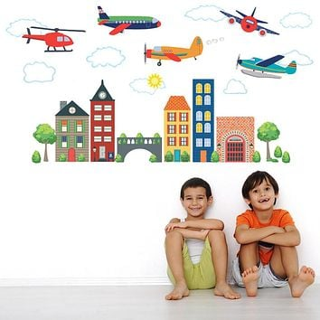 Airplanes, Helicopter & Transportation Town Wall Decals, Eco-Friendly Reusable