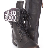 Black Cuffed Lace Up Combat Boots Faux Leather