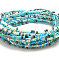 3 Stretch seed bead wrap bracelets, stacking, beaded, boho anklet, bohemian, stretchy stackable multi strand, blue, white, black, grey, teal