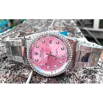 Rolex men and women tide brand simple fashion wild quartz watch Silver+pink