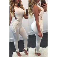 Pure Color Lace Up Hollow Out Long Skinny Jumpsuit