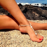 Barefoot sandals - beach - bridal shoes - wedding accessories  - beach wedding - beachwear - mother of pearl - nude shoes - cruise wear