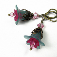 Flower Earrings, Turquoise and Pink Dangle Earrings, Rose, Floral Jewelry