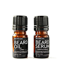 sample BEARD SET. vegan beard oil + beard serum. 100% natural trial size beard oils.