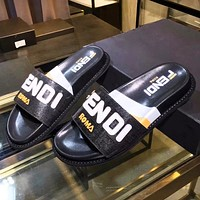 Fendi Fashion New Letter Print High Quality Leisure Slippers Shoes Women Black