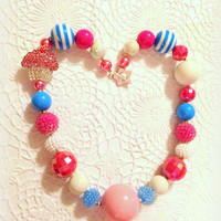 Chunky beaded necklace, bubblegum beaded necklace, newborn necklace, photo prop necklace, cupcake necklace, 1st birthday