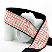 Rosebud Happy Thoughts Camera Strap, DSLR, Inspirational, Pocket, SLR, Quotes, Canon or Nikon Replacement strap, Camera Neck Strap, 38 ww