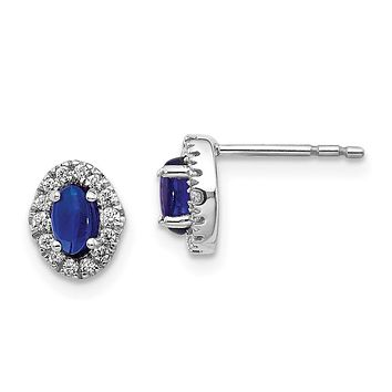 14k White Gold Real Diamond and Cabochon Sapphire Earrings