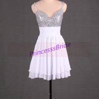 2014 short whitechiffon homecoming dress,sexy v neck gowns for holiday party,cheap cute prom dresses under 100.
